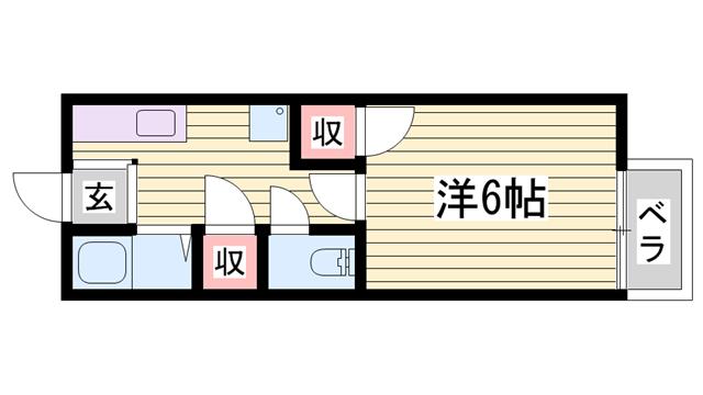 物件番号: 1115152693  加古川市平岡町新在家 1K ハイツ 間取り図