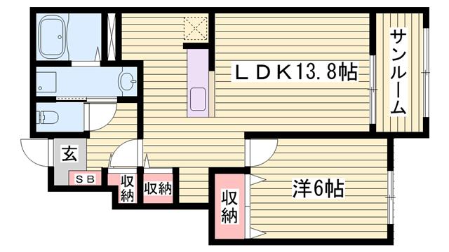 物件番号: 1115152818  姫路市花田町小川 1LDK ハイツ 間取り図