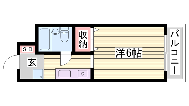 物件番号: 1115153155  姫路市書写 1K ハイツ 間取り図