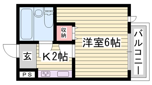 物件番号: 1115153183  姫路市東延末 1K マンション 間取り図
