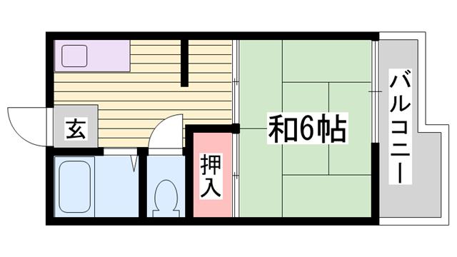 物件番号: 1115153516  姫路市新在家本町3丁目 1DK ハイツ 間取り図
