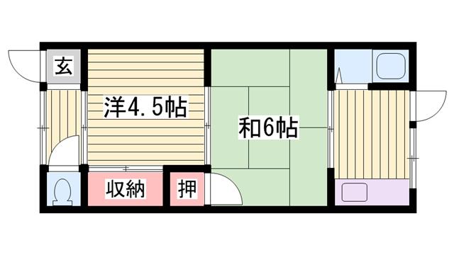 物件番号: 1115153527  加古川市野口町野口 2K ハイツ 間取り図
