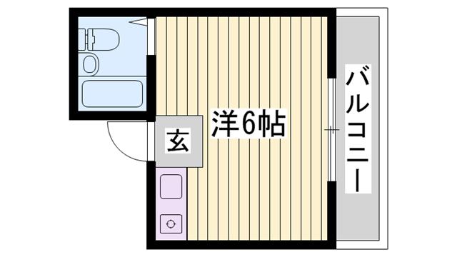 物件番号: 1115153560  姫路市上大野4丁目 1R マンション 間取り図