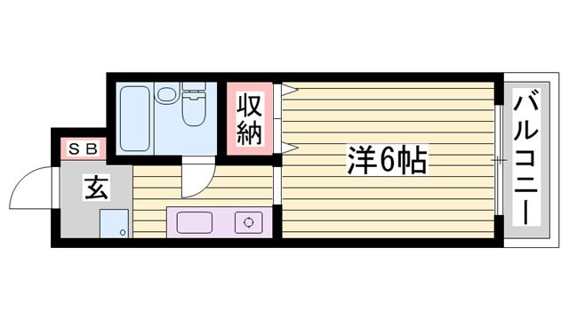 物件番号: 1115153852  姫路市書写 1K ハイツ 間取り図