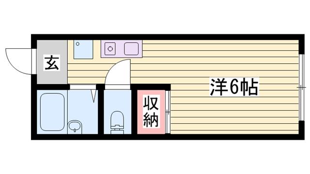 物件番号: 1115153912  姫路市白浜町神田1丁目 1R ハイツ 間取り図