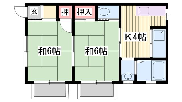 物件番号: 1115153973  姫路市網干区浜田 2DK ハイツ 間取り図