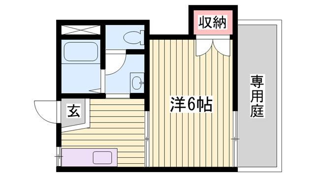 物件番号: 1115154546  加古川市平岡町新在家1丁目 1K ハイツ 間取り図