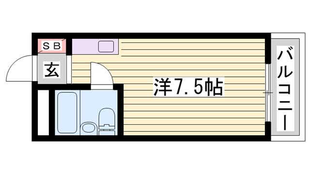 物件番号: 1115154613  姫路市白国1丁目 1R マンション 間取り図
