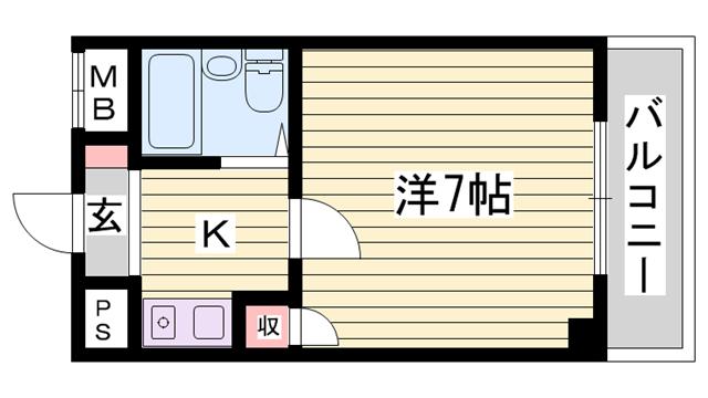 物件番号: 1115155959  姫路市北条口1丁目 1K マンション 間取り図