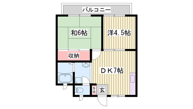 物件番号: 1115156138  姫路市別所町小林 2DK ハイツ 間取り図