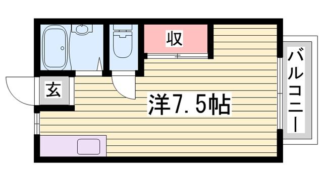 物件番号: 1115156151  姫路市砥堀 1K ハイツ 間取り図