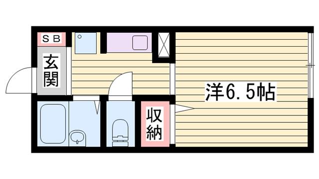 物件番号: 1115156576  姫路市北平野3丁目 1K ハイツ 間取り図