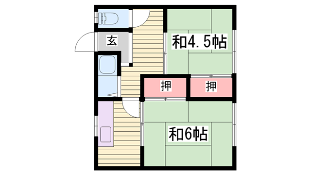 物件番号: 1115156577  姫路市御立西1丁目 2K ハイツ 間取り図