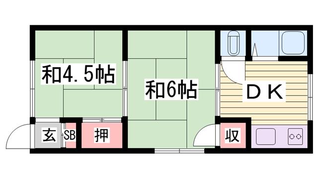 物件番号: 1115157045  姫路市八代本町2丁目 2K ハイツ 間取り図