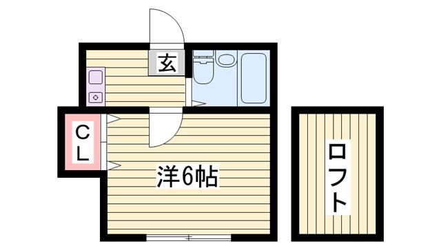 物件番号: 1115157346  姫路市野里新町 1K ハイツ 間取り図