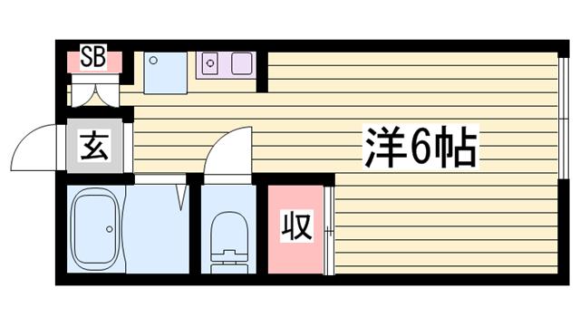 物件番号: 1115157590  姫路市飾磨区上野田6丁目 1R ハイツ 間取り図