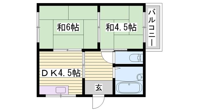 物件番号: 1115157887  姫路市岡田 2DK ハイツ 間取り図