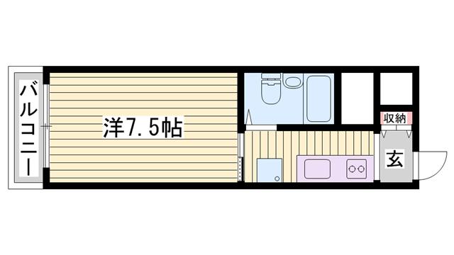 物件番号: 1115159745  加古川市平岡町新在家1丁目 1K マンション 間取り図