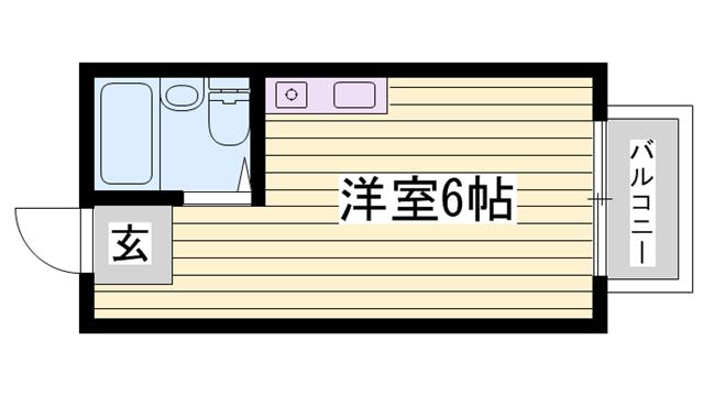 物件番号: 1115160055  姫路市城北新町2丁目 1R ハイツ 間取り図