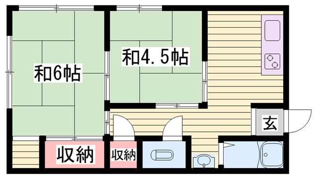物件番号: 1115160885  姫路市幸町 2K ハイツ 間取り図