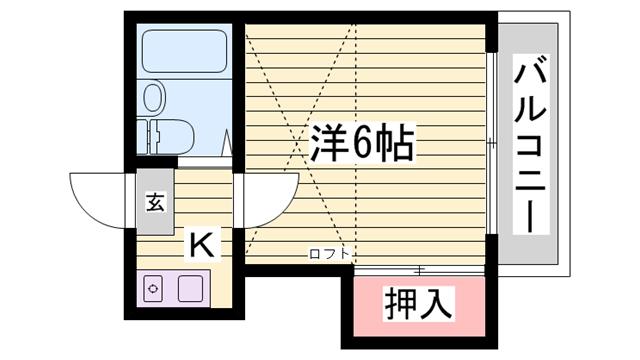 物件番号: 1115160916  姫路市城北新町1丁目 1K ハイツ 間取り図