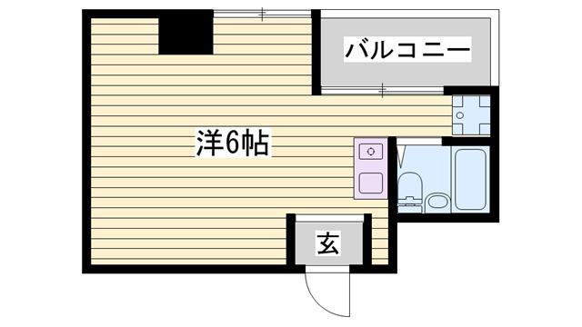 物件番号: 1115161745  姫路市北平野2丁目 1K マンション 間取り図