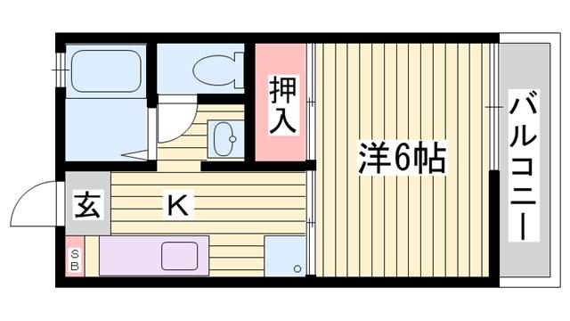 物件番号: 1115162668  姫路市北平野4丁目 1K ハイツ 間取り図
