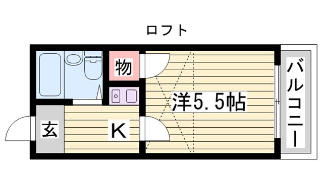 物件番号: 1115163151  姫路市伊伝居 1K ハイツ 間取り図