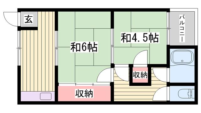 物件番号: 1115163600  姫路市八代東光寺町 2K ハイツ 間取り図