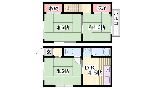 物件番号: 1115163757  加古川市別府町西町 3DK アパート 間取り図