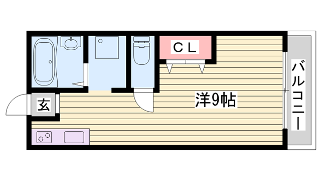 物件番号: 1115164065  姫路市保城 1R アパート 間取り図