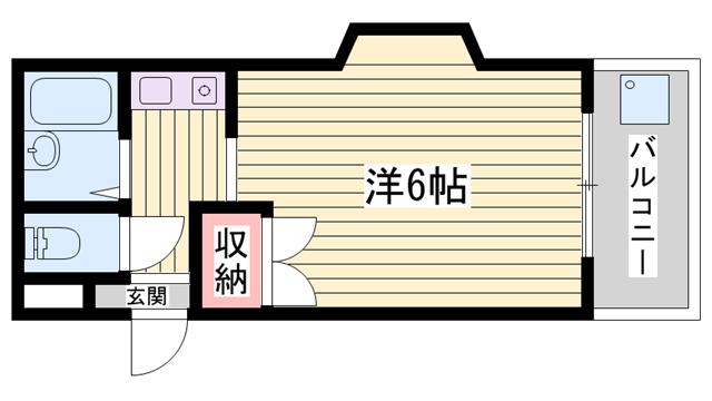 物件番号: 1115164127  姫路市保城 1K マンション 間取り図