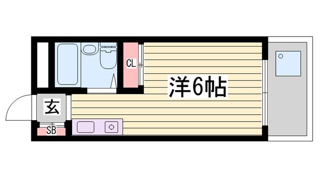 物件番号: 1115164133  神崎郡福崎町福田 1R マンション 間取り図
