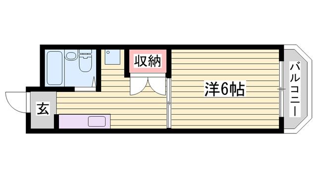 物件番号: 1115164170  姫路市広畑区西夢前台5丁目 1K マンション 間取り図