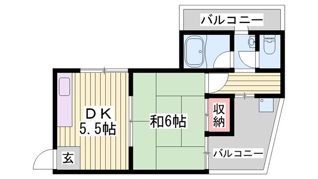 物件番号: 1115164411  姫路市新在家本町2丁目 1DK ハイツ 間取り図