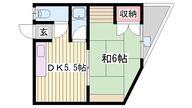 物件番号: 1115164413  姫路市新在家本町2丁目 1DK ハイツ 間取り図