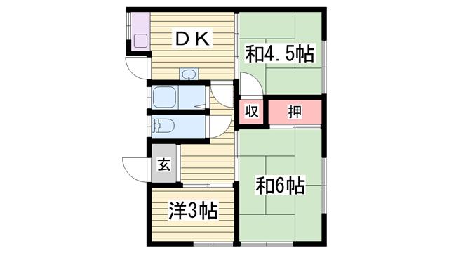 物件番号: 1115164944  姫路市網干区浜田 3DK 貸家 間取り図