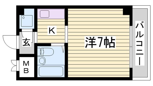 物件番号: 1115165543  姫路市城北新町2丁目 1K マンション 間取り図