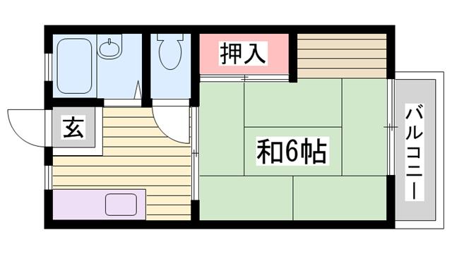 物件番号: 1115165637  姫路市砥堀 1K ハイツ 間取り図
