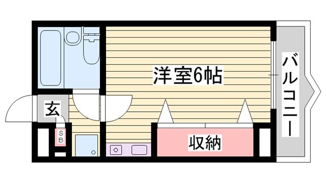 物件番号: 1115165763  姫路市網干区新在家 1R マンション 間取り図