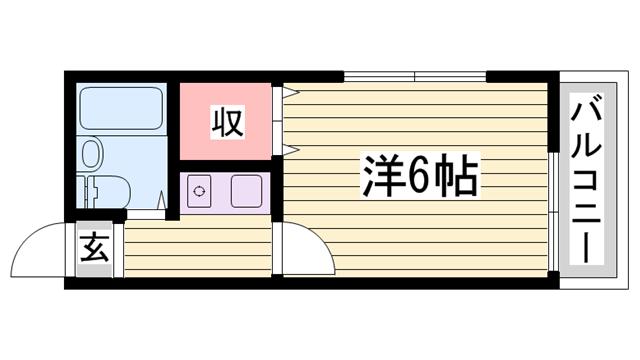 物件番号: 1115166504  姫路市小利木町 1K ハイツ 間取り図