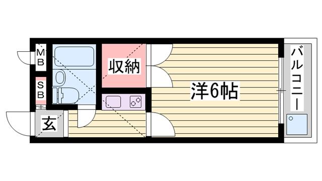物件番号: 1115166627  加古川市尾上町口里 1K ハイツ 間取り図