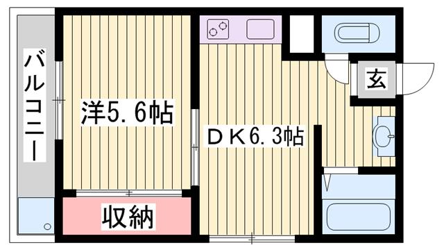 物件番号: 1115166673  姫路市東延末1丁目 1DK マンション 間取り図