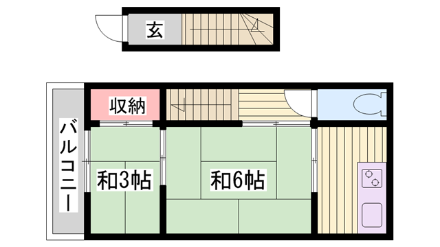 物件番号: 1115167097  姫路市亀山2丁目 2K アパート 間取り図