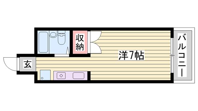 物件番号: 1115167769  姫路市広畑区小松町2丁目 1K マンション 間取り図