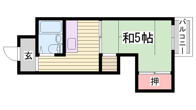 物件番号: 1115167948  姫路市手柄1丁目 1K マンション 間取り図