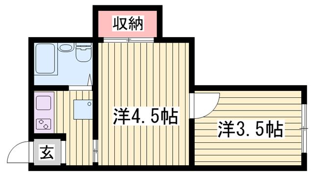 物件番号: 1115168102  姫路市東雲町5丁目 2K マンション 間取り図