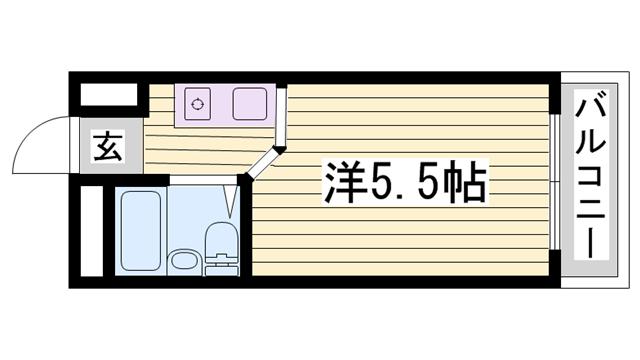 物件番号: 1115168412  神崎郡福崎町西治 1R マンション 間取り図