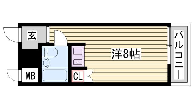 物件番号: 1115168478  姫路市広畑区東新町1丁目 1R マンション 間取り図