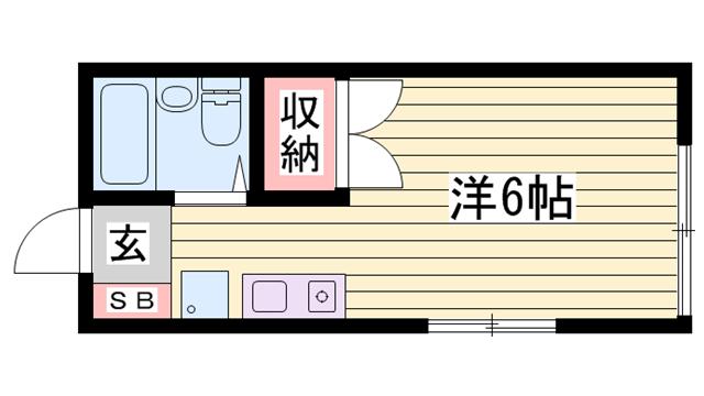 物件番号: 1115168527  姫路市書写 1K ハイツ 間取り図